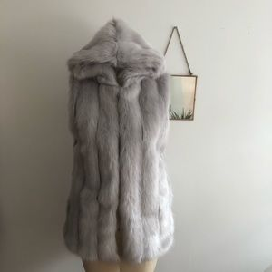 Jackets & Coats - Faux Fur Hooded Vest - Fuzzy Winter Outerwear
